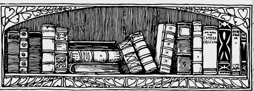 Illustration in black-and-white of about twenty books on a bookshelf.