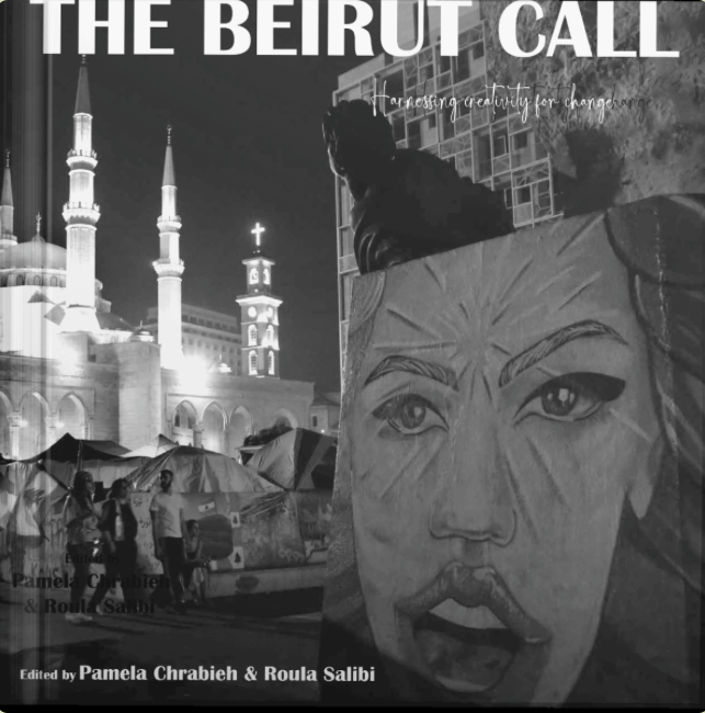 Cover image of The Beirut Call shows downtown Lebanon at night with street art and many people near a large church with arches and columns.